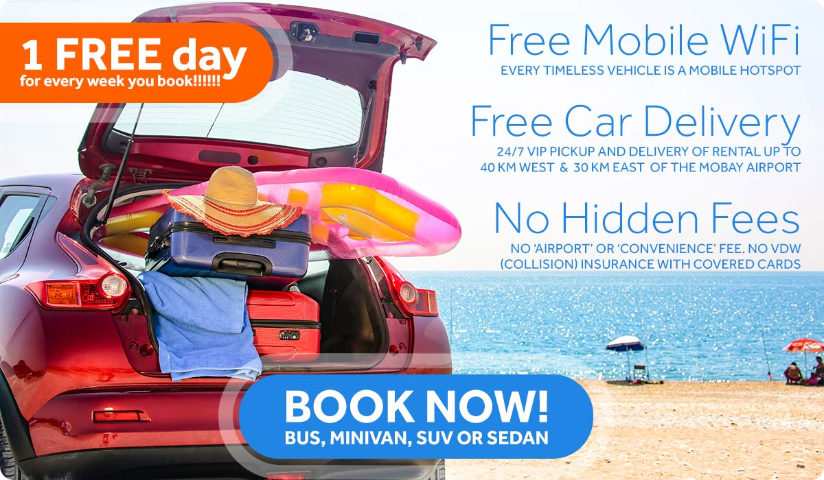 Book Now! One free day for every week you book! Free mobile Wifi. Free car delivery. No hidden Fees